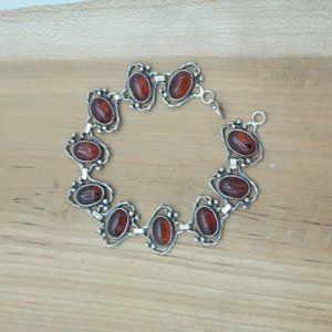 Sterling Silver with Amber toned stones